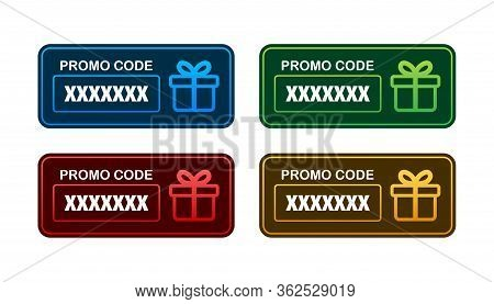 Promo Code. Vector Gift Voucher With Coupon Code. Premium Egift Card Background For E-commerce, Onli