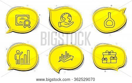 Cognac Bottle Sign. Diploma Certificate, Save Planet Chat Bubbles. Growth Chart, Graph Chart And Sur