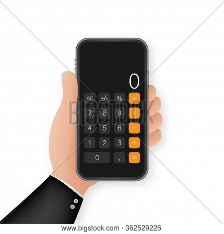 Button With Black Calculator Smartphone. Mobile App Interface. Phone Display. Mobile Phone Smartphon