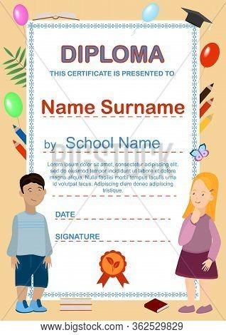 Preschool Kids Diploma. Cartoon Certificate Template With Kids, Balloons, Pencils, Books. Primary Sc
