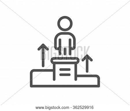 Business Podium Line Icon. Employee Nomination Sign. Person Award Symbol. Quality Design Element. Ed