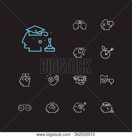 Mental Icons Set. Collective Mind And Mental Icons With Target, Decline And Friendship. Set Of Face
