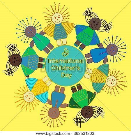 International Children's Day Card. Children Of Different Ethnicity And Nationalities Around The Eart