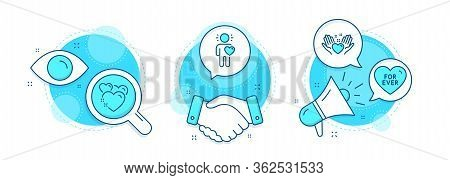 Friend, Hold Heart And Heart Line Icons Set. Handshake Deal, Research And Promotion Complex Icons. F