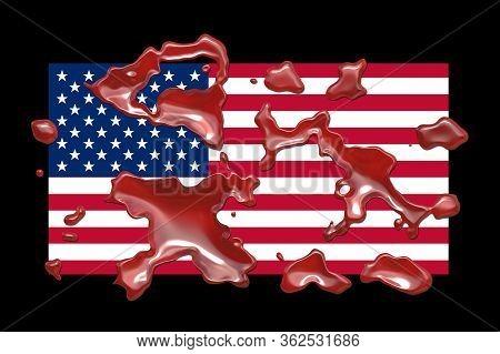 Blood On Usa Flag Design Background Illustration