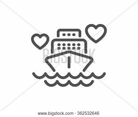 Honeymoon Travel Line Icon. Love Trip Sign. Valentines Day Cruise Symbol. Quality Design Element. Ed