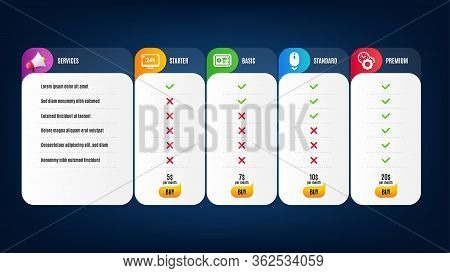 24h Service, Time Management And Safe Box Icons Simple Set. Price List, Pricing Table. Scroll Down S