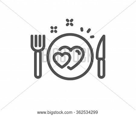 Romantic Dinner Line Icon. Valentines Day Food Sign. Couple Relationships Symbol. Quality Design Ele