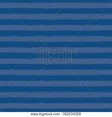 Striped Seamless Vector Pattern In Actual 2020 Trendy Colors. Classic Blue Textured Background. Abst