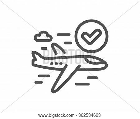 Confirmed Flight Line Icon. Approved Charter Sign. Verified Airplane Symbol. Quality Design Element.