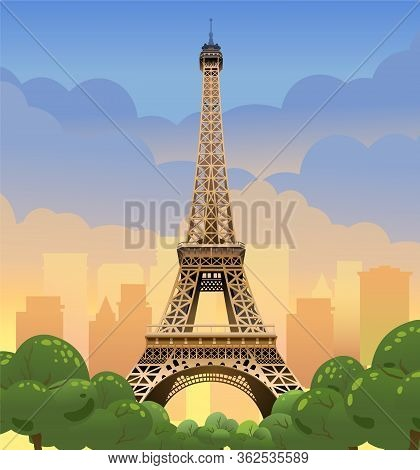 Eiffel Tower In Paris. Sunset On The Champs Elysees. Evening Paris.  Tourist Place. Sunset In France