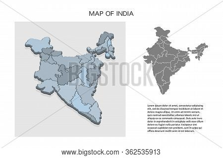 Isometric 3d Map Of India. Political Country Map In Perspective With Administrative Divisions And Po