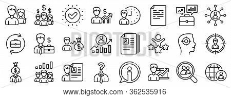Business Networking Contract, Job Interview And Head Hunting Contract Icons. Human Resources, Head H