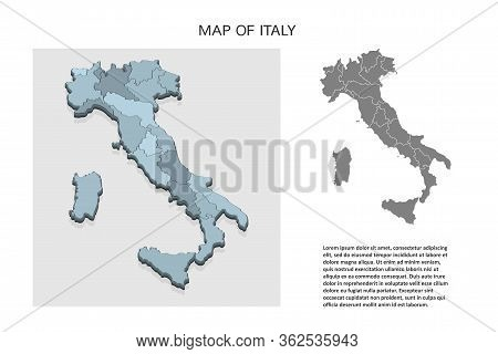 Isometric 3d Map Of Italy. Political Country Map In Perspective With Administrative Divisions And Po