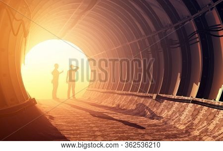 Silhouette of workers in mine, 3d render