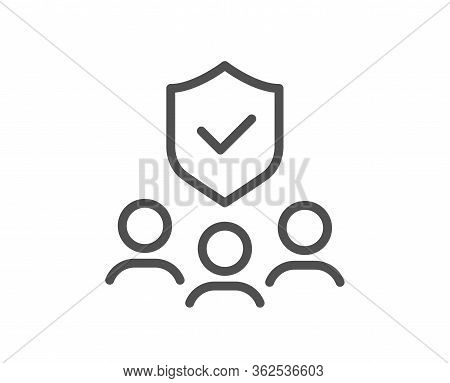 People Insurance Line Icon. Health Coverage Sign. Life Protection Policy Symbol. Quality Design Elem