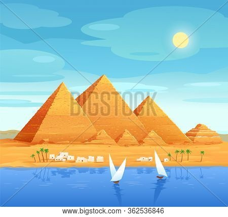 The Pyramids Of Egypt. Egyptian Pyramids On The River. The Cheops Pyramid In Cairo, In Giza. Egyptia