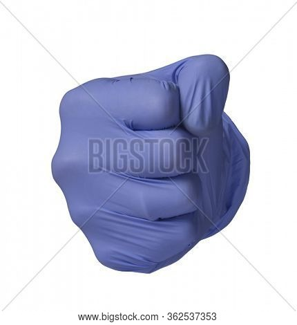 Medic hand wearing blue latex glove on punch sign concept on white background.