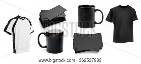 Set of blank tshirts, cups and business cards