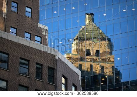 Marine Building Reflection Vancouver. The Historic Marine Building Reflected In An Office Building I