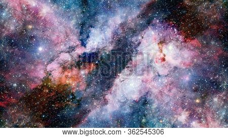 Hubble Views Galaxy And Nebula. Elements Of This Image Furnished By Nasa.