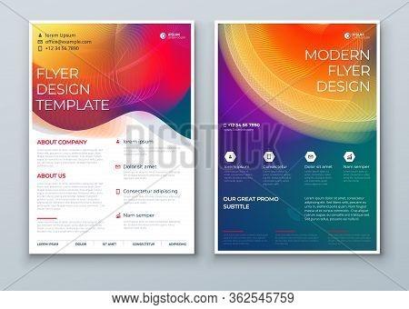 Liquid Abstract Flyer Design. Dark Fluid Dynamic Graphic Element For Modern Brochure, Banner, Poster