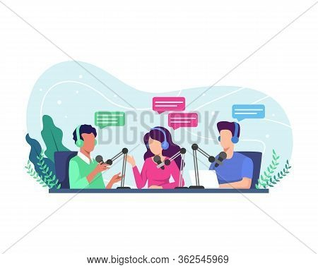 Podcast Concept Illustration. Radio Host Interviewing Guests On Radio Station. Podcast In Studio Fla