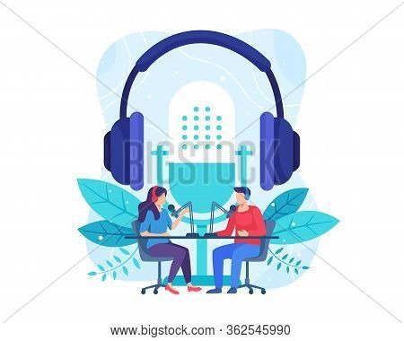 Podcast Concept Illustration. Female Radio Host Interviewing Guests On Radio Station. Podcast In Stu