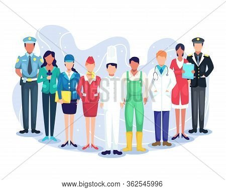 Professional Workers Labor Day Cartoons. Illustration Speakers Of Podcast, Experts From Various Prof