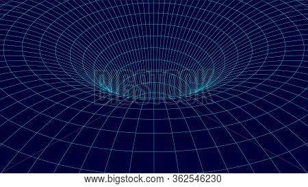 Wireframe Tunnel. 3d Wormhole. Dark Vector Illustration.