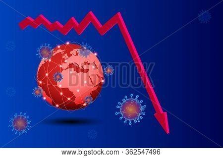 Isometric Global Economic Impacts 2020. Coronavirus Or Covid-19 Pandemic Global Impact. Closed Borde