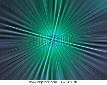 Abstract Surface Radial Zoom Blur Of Emerald, Gray Tones. Abstract Emerald Background With Radial, R