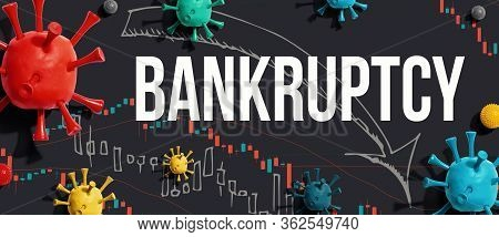 Bankruptcy Theme With Viruses And Downward Stock Price Charts