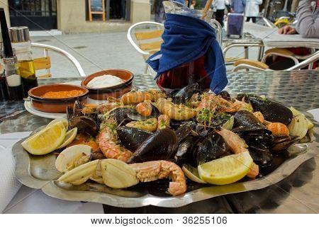 seafood - parrillada de marisco, spanish dish with sangria wine poster