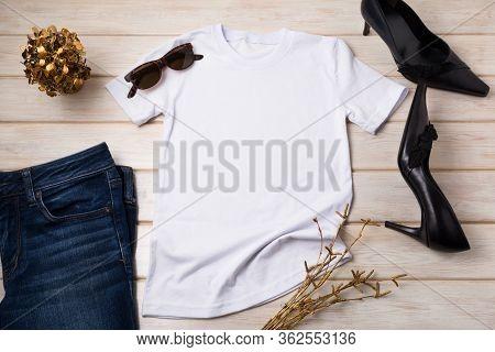 Women's T-shirt Mockup With Black Heels