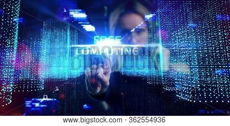 Edge Computing Modern It Technology On Virtual Screen. Business, Technology, Internet And Networking