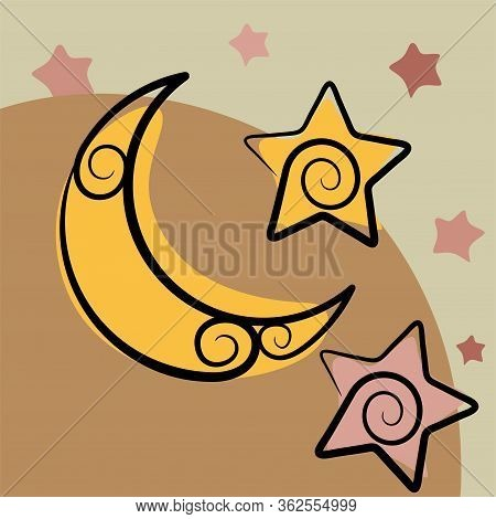 Continuous Line Drawing. Star And Crescent Moon Icon Isolated On White Background. Star And Crescent