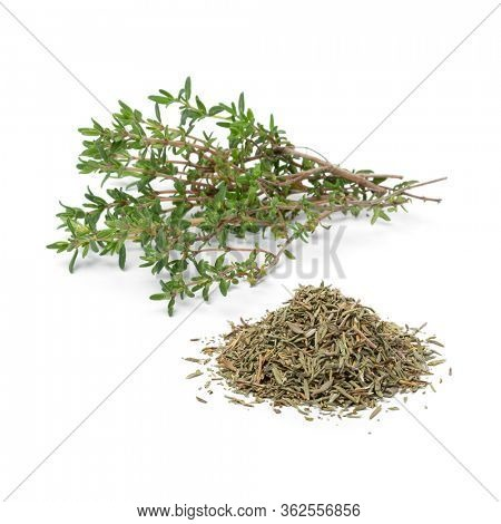 Heap of dried Thyme and fresh thyme twigs isolated on white background