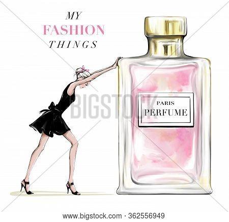 Hand Drawn Beautiful Young Woman Pushing Perfume Bottle. Fashion Woman In Black Dress. Stylish Girl