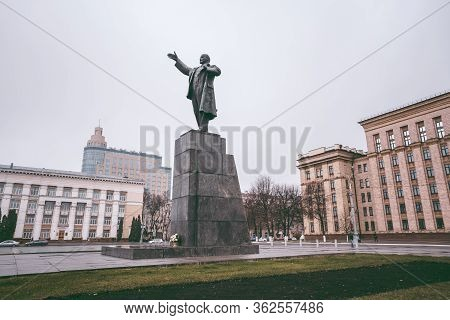 Voronezh, Russia November 17, 2019: Monument To Lenin, On Lenin Square In The Center Of Voronezh. Sy