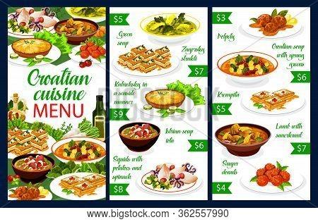 Croatian Cuisine, Restaurant Menu And Traditional Southeast Europe Food. Croatian National Meals And