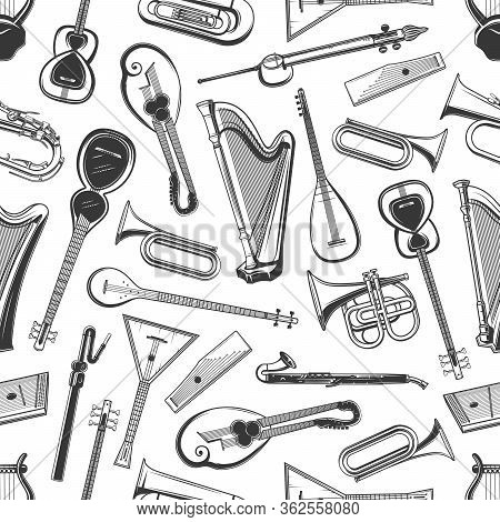 Music Instruments Vector Seamless Pattern Background. Classic Orchestra, Jazz And Folk Musical Instr