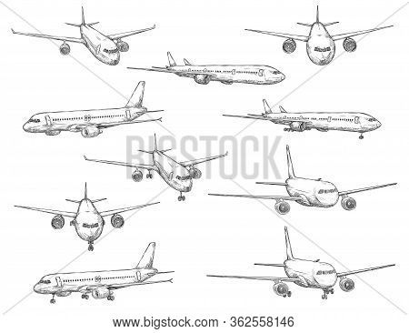 Airplane Sketch Vector Icons In Different View. Modern Aircraft Types With Turbine Engines On Takeof