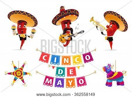 Cinco De Mayo Holiday Jalapeno Pepper Musicians, Pinata And Papel Picado Flags, Vector Mexican Fiest