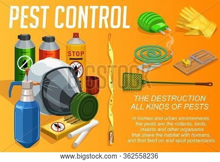 Pest Control Service, Vector Poster, Domestic Disinsection And Extermination. Urabn Deratization, Co