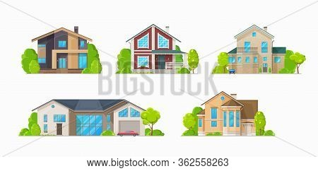 Houses And Residential Buildings, Real Estate Vector Icons. Family House And Mansions, Duplex Apartm