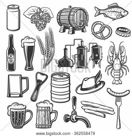Oktoberfest German Beer Festival Vector Icons Of Food And Traditional Symbols. Bavarian Craft Beer I