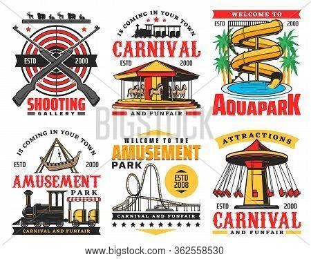 Amusement Park Vector Icons, Funfair Carnival And Aquapark. Family And Kids Entertainment Parks Sign