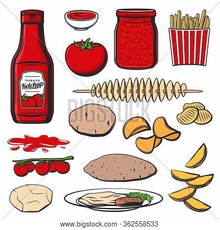 Ketchup And Food, Vector Icons Of Tomato Sauce And Snacks. Ketchup Bottle And Dipping Sauce For Fast