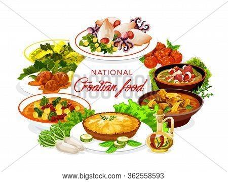 Croatian Cuisine Food, Traditional Meals Restaurant Menu Cover. Croatian Seafood Squids With Potatoe